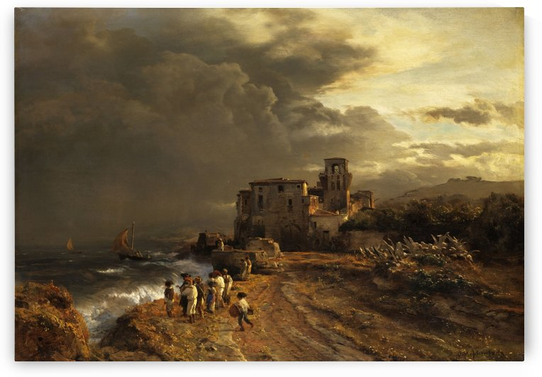 Retreating Storm on the Italian Coast by Oswald Achenbach