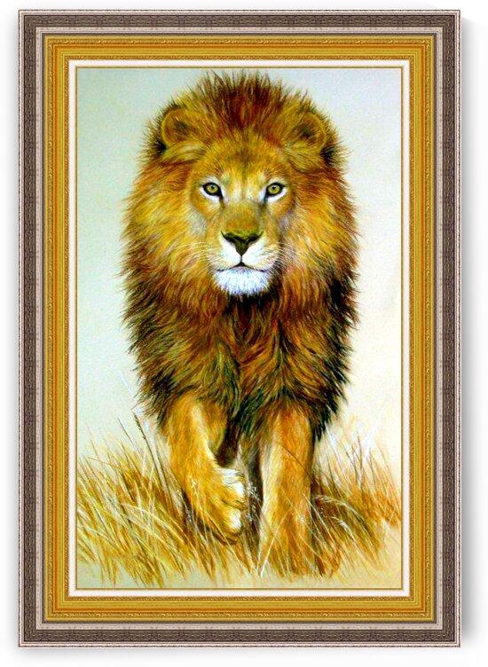 Original Pastel Drawing Stunning African Lion by Nature Art