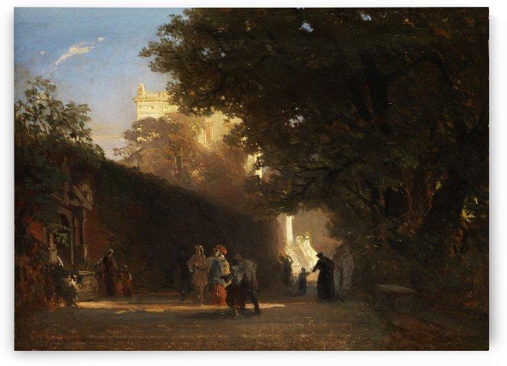 Italienische villa und Park mit vornehmer gesellschaft und Priestern by Oswald Achenbach
