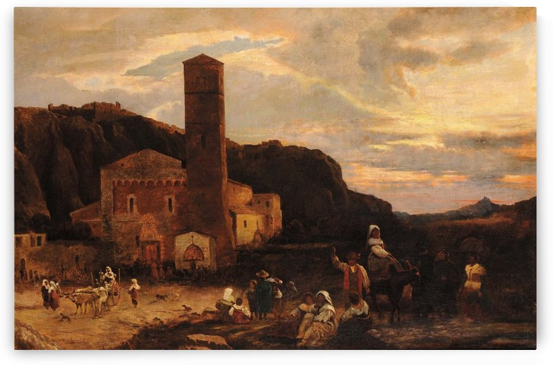 Landscape with church and figures by Oswald Achenbach