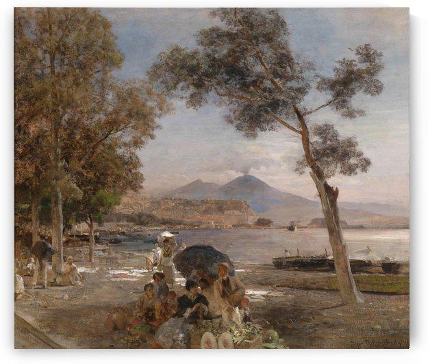 Abendstimmung am Golf von Neapel by Oswald Achenbach