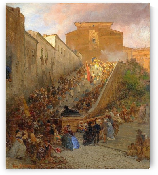 Figures in an Italian city by Oswald Achenbach