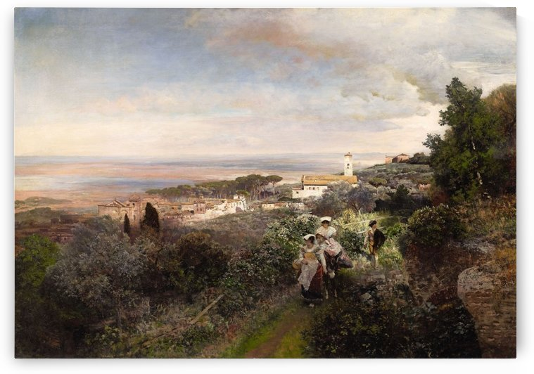 The footpath from Ariccia to Albano with View on The Roman Campagna by Oswald Achenbach