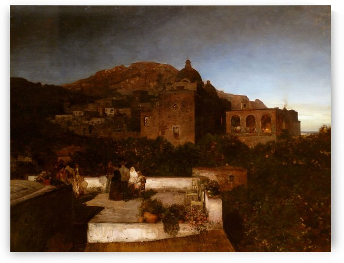 Moonlit night at Capri by Oswald Achenbach