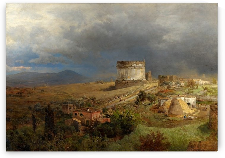 Via Appia with the Tomb of Cecilia Metella by Oswald Achenbach