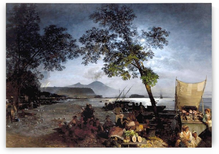 Moonlit Scene of the Bay of Naples by Oswald Achenbach
