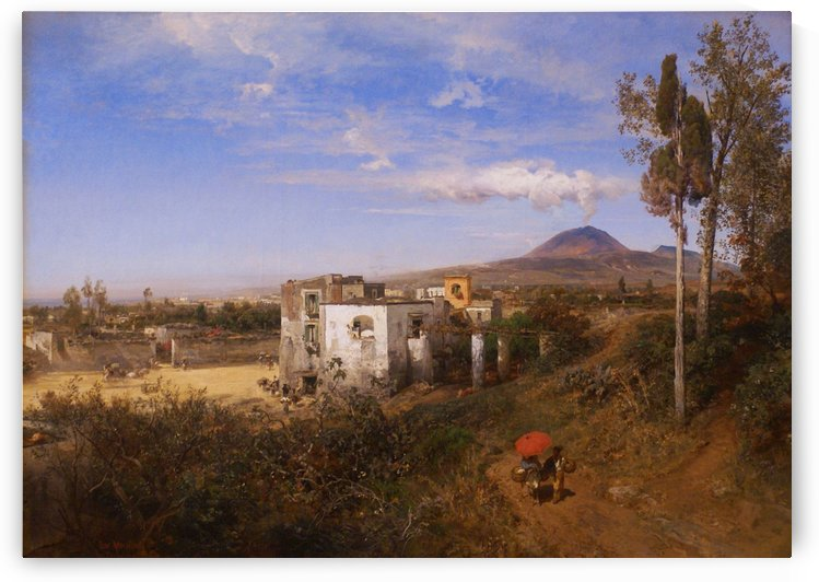 Italian town with volcano in the back by Oswald Achenbach
