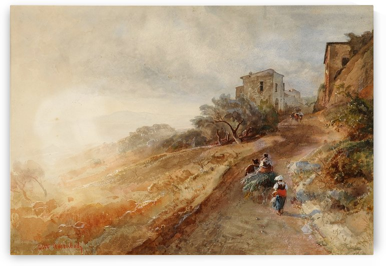 Entering Italian town by Oswald Achenbach
