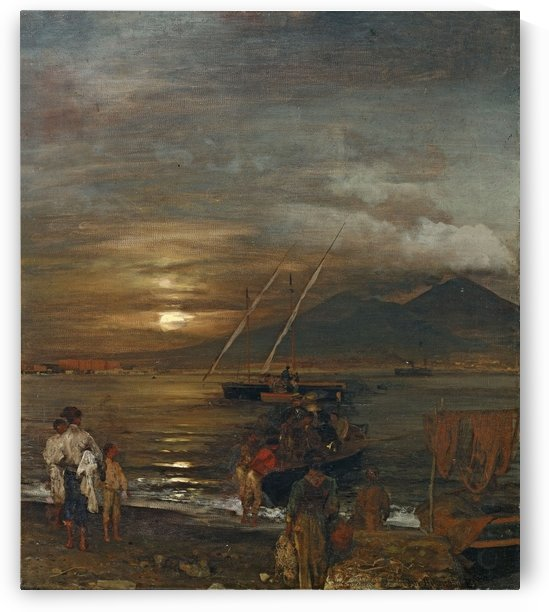 The Bay of Naples in moonlight by Oswald Achenbach
