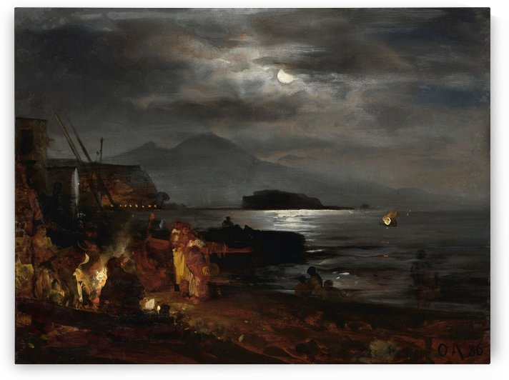 The Bay of Naples in the moonlight by Oswald Achenbach