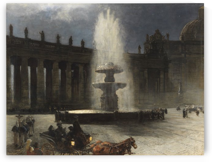 Saint Peter Square at the full moon by Oswald Achenbach