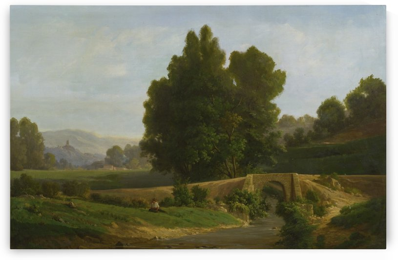 Man resting in a landscape by Francois Antoine Leon Fleury