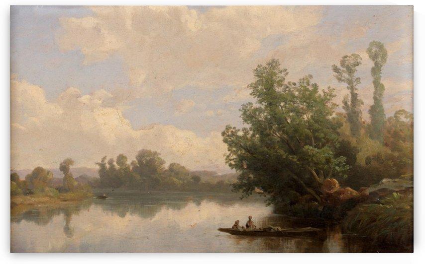 Barque sur une riviere by Francois Antoine Leon Fleury