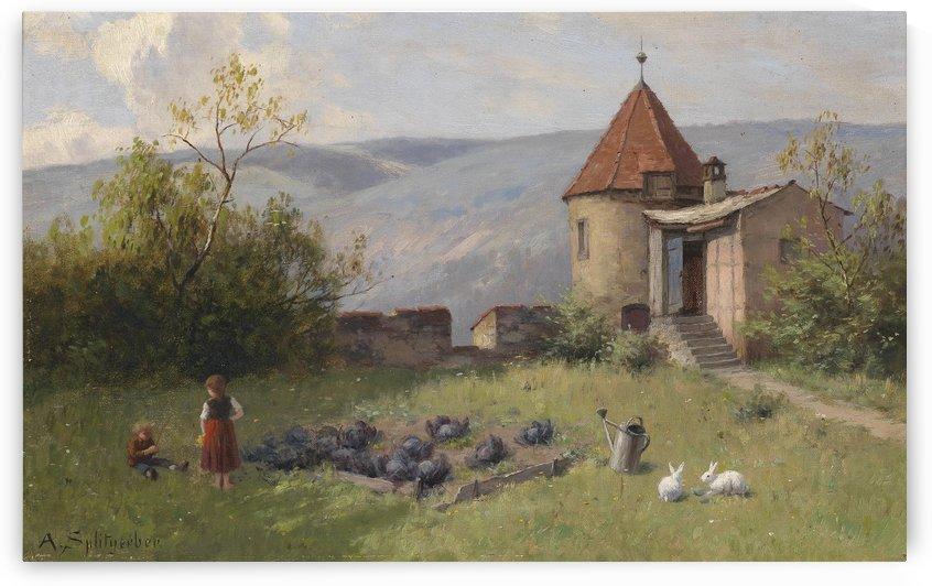 Gemusegarten mit zwei Hasen by August Splitgerber
