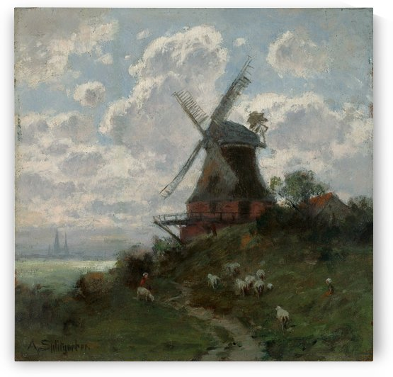 Windmill on cloudy day by August Splitgerber