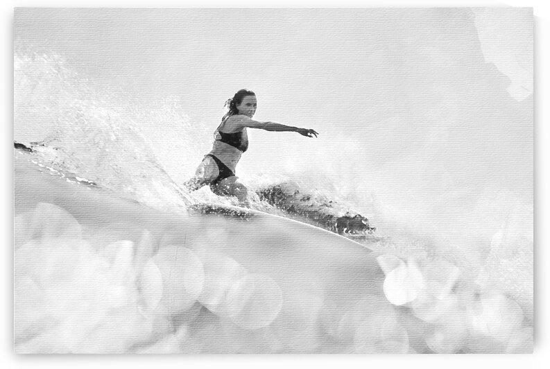 Surfer Girl Watercolor Print in black and white by Surf Posters