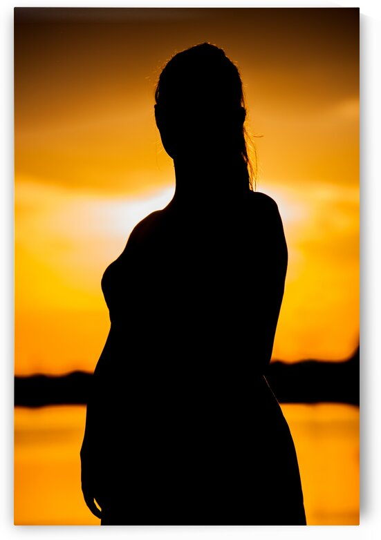 Woman at Sunset in Silhouette by Bobby Twilley Jr