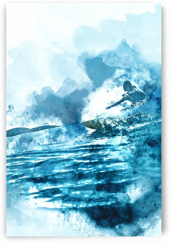 Surfer Watercolor Painting by Surf Posters