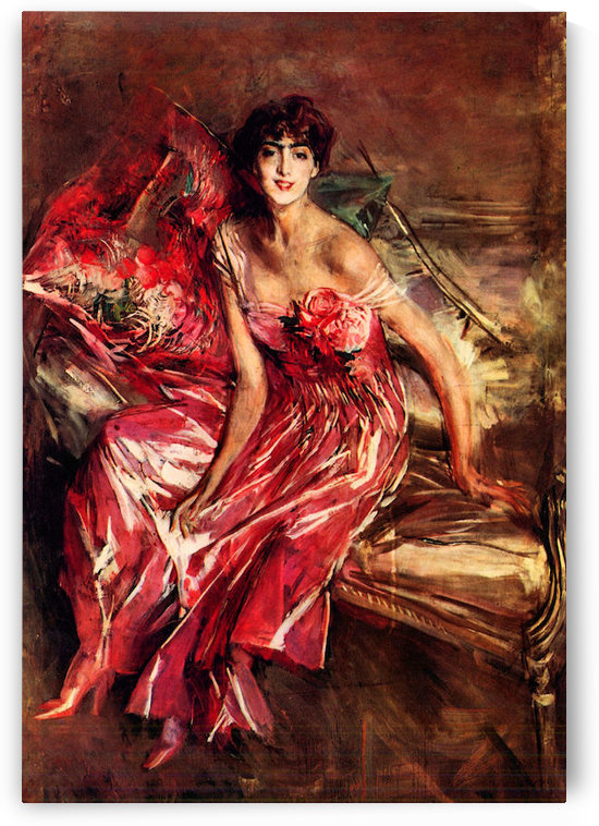 Lady in Red by Giovanni Boldini by Giovanni Boldini