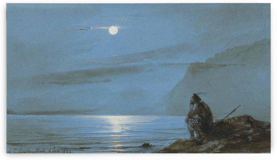 Soldat ecossais meditant au bord de l'eau au clair de lune by Jean Antoine Theodore de Gudin