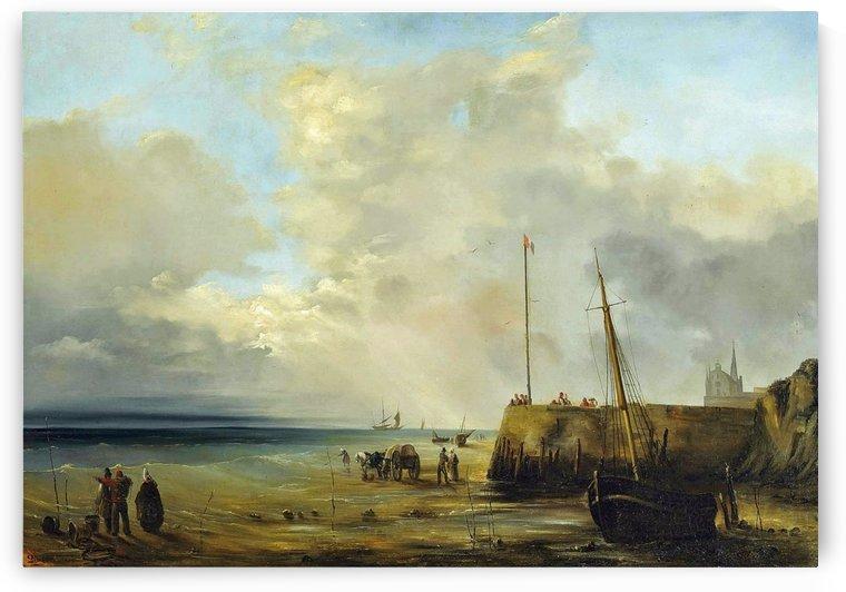 Fishermen at the Harbor Wall, low tide 1833 by Jean Antoine Theodore de Gudin