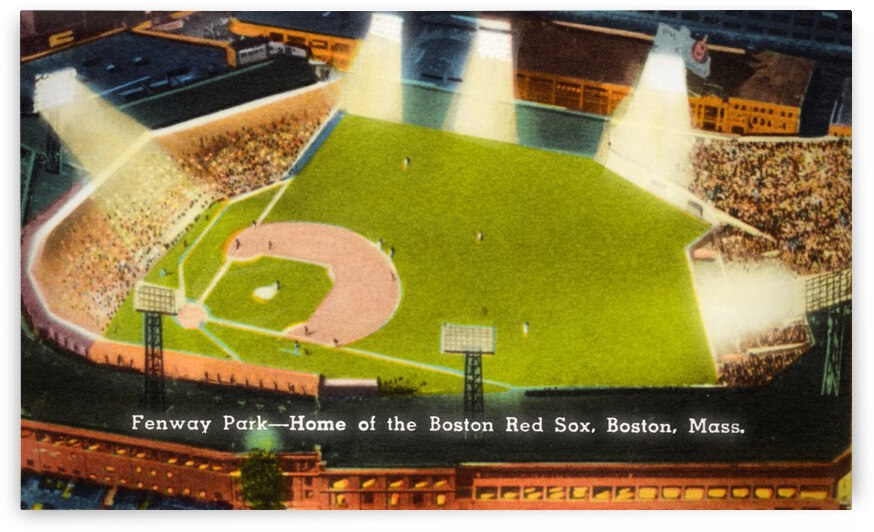 1935 Boston Red Sox Fenway Park Postcard Art by Row One Brand