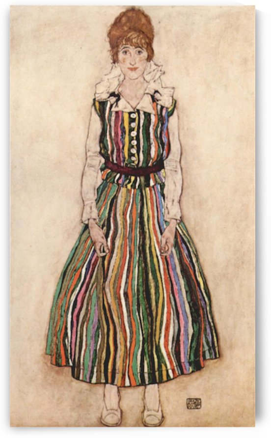 Portrait of Edith Schiele in a striped dress by Schiele by Schiele