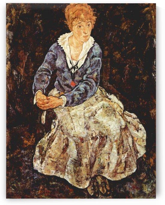 Portrait of Edith Schiele sitting by Schiele by Schiele