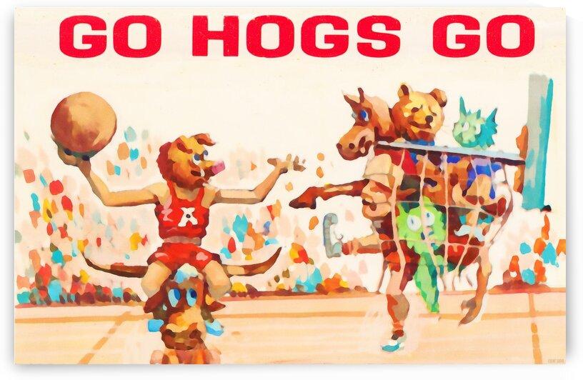 1984 Arkansas Cartoon Basketball Art by Row One Brand