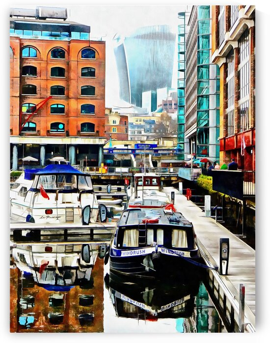 Barge View St Katharine Docks London by Dorothy Berry-Lound