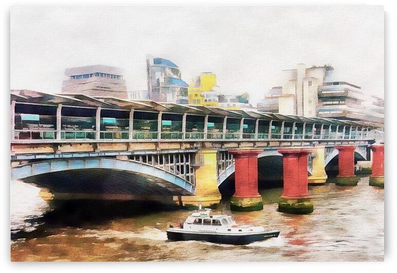 Boat Passing Under Blackfriars Railway Bridge by Dorothy Berry-Lound