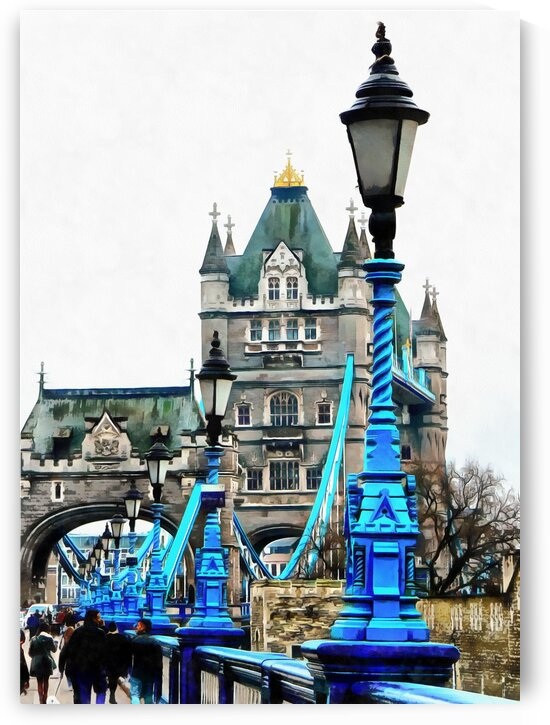 Blue Street Lights Lead to Tower Bridge London by Dorothy Berry-Lound