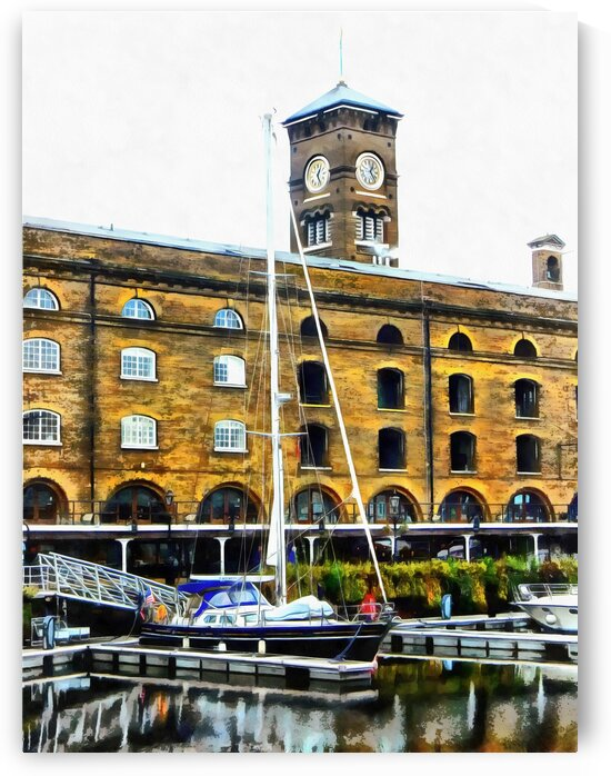 Boats in Front of Clock Tower St Katharine Docks by Dorothy Berry-Lound
