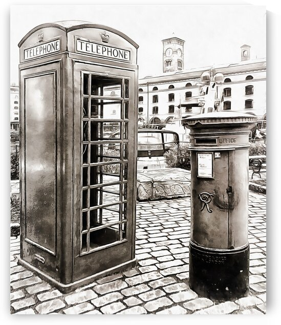 London Telephone Box and Post Box by Dorothy Berry-Lound