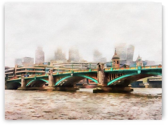 Southwark Bridge Misty Cityscape by Dorothy Berry-Lound