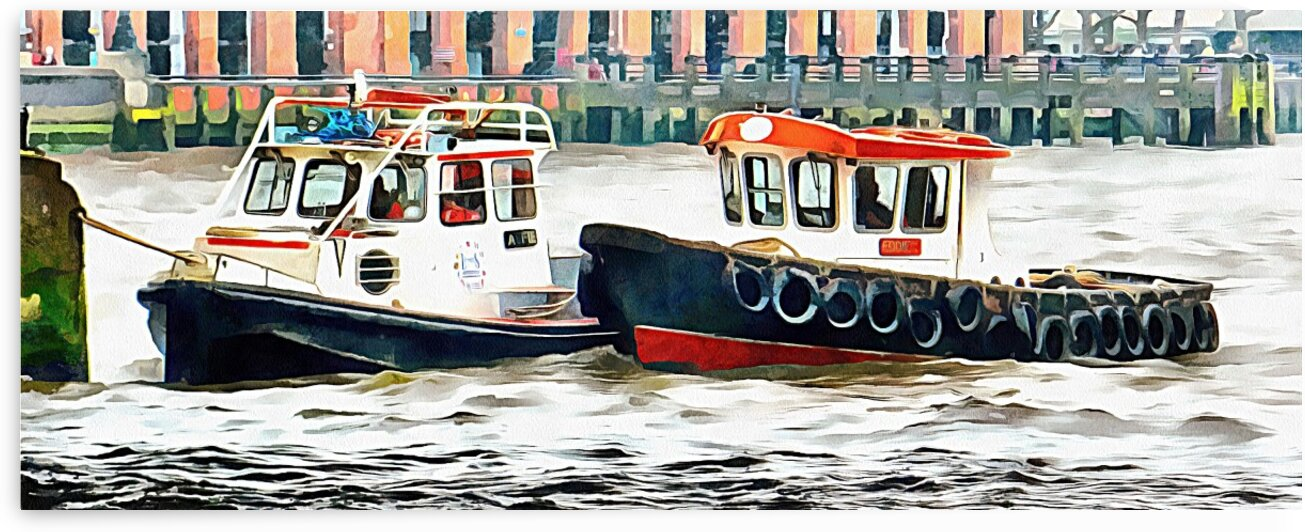 Two Boats Tied Up On The River Thames London by Dorothy Berry-Lound