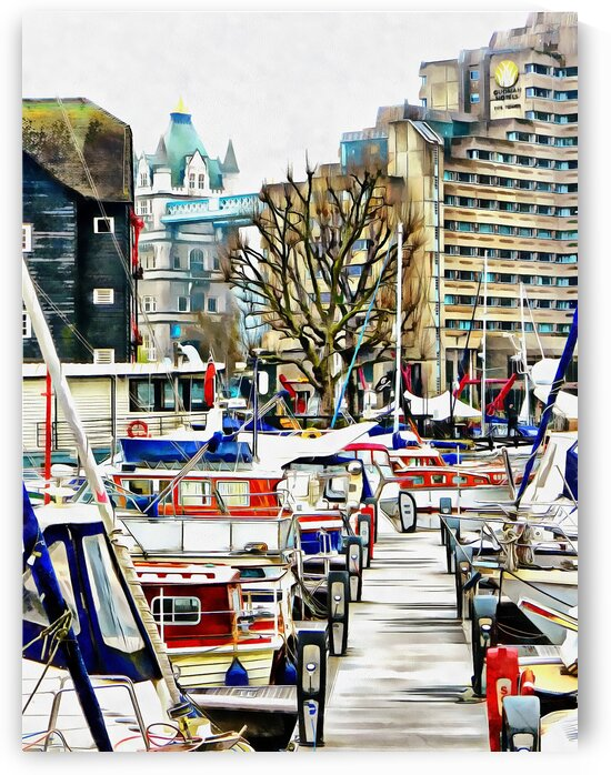 View from St Katharine Docks Towards Tower Bridge by Dorothy Berry-Lound