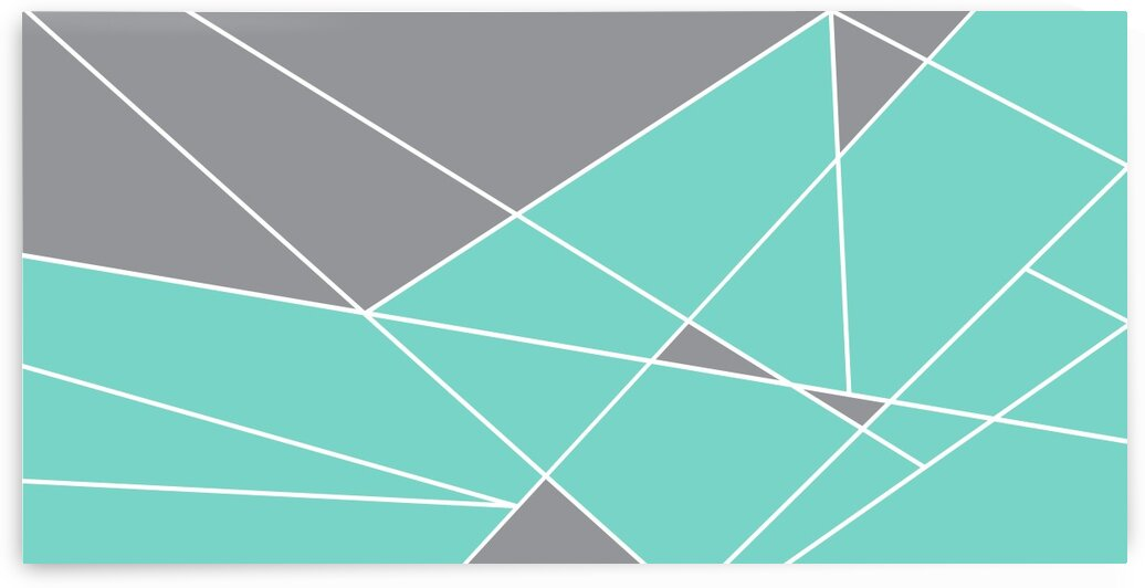Gray Teal Triangles Geometric Art GAT101 by Edit Voros