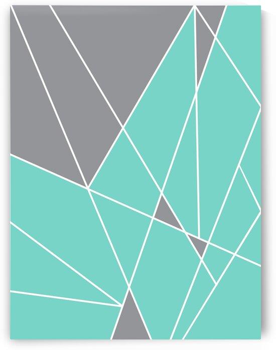 Gray Teal Triangles Geometric Art GAT101-2 by Edit Voros