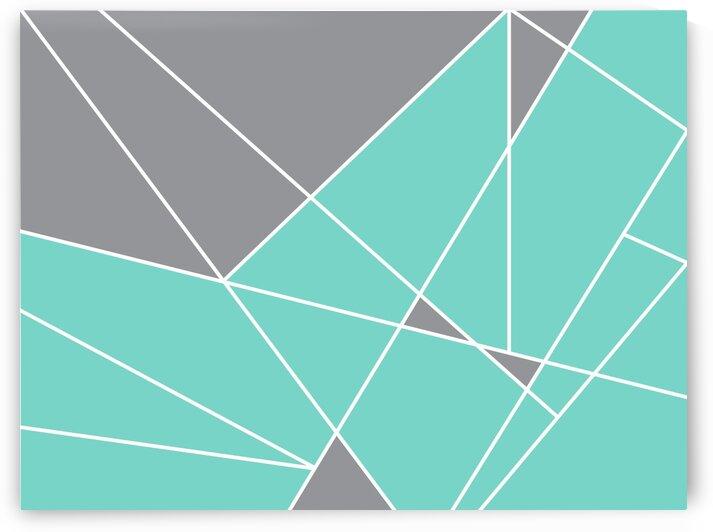 Gray Teal Triangles Geometric Art GAT101-3 by Edit Voros