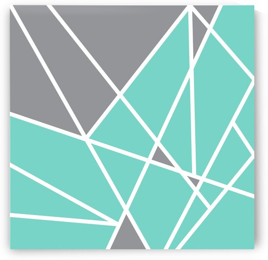 Gray Teal Triangles Geometric Art GAT101 square by Edit Voros