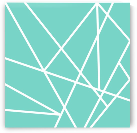 Teal Triangles Geometric Art GAT101 by Edit Voros