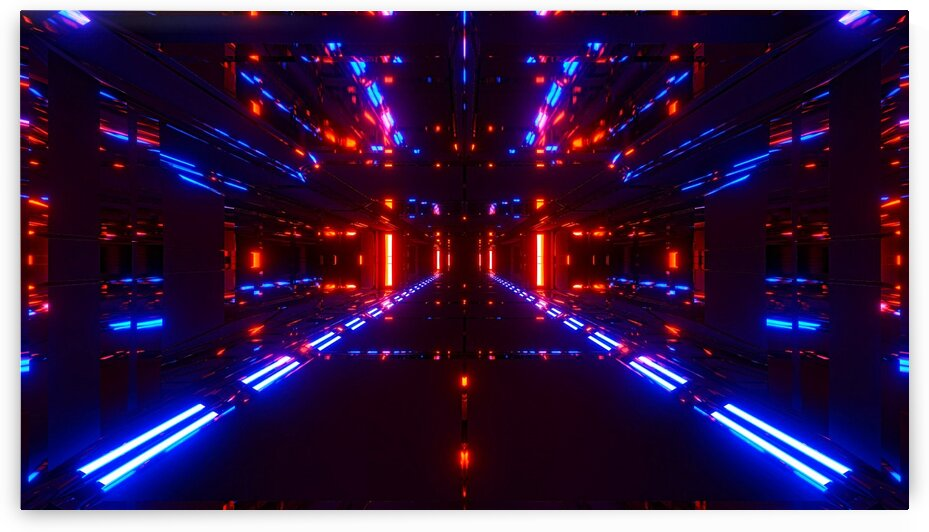 Tunnel Red And Blue Lights_OSG by One Simple Gallery