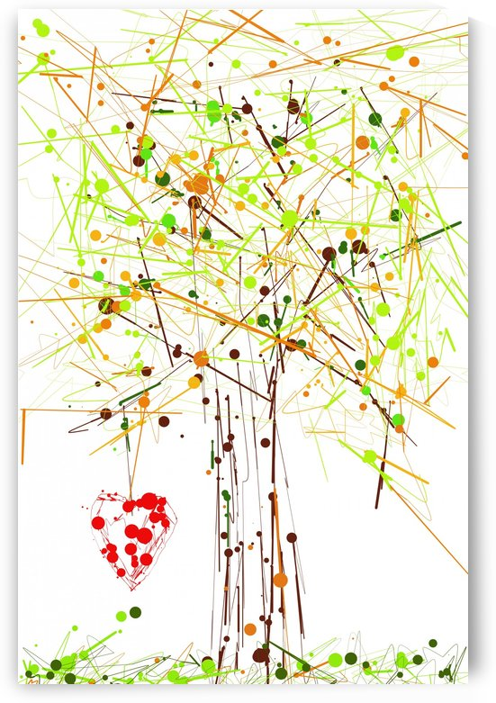 the red heart on tree by Dagmar Marina