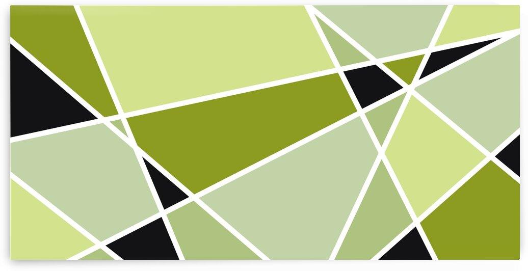 Green Black Triangles Geometric Art 102 by Edit Voros
