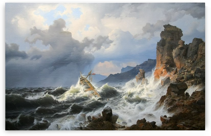 Storm on the sea at the Norwegian coast by Andreas Achenbach