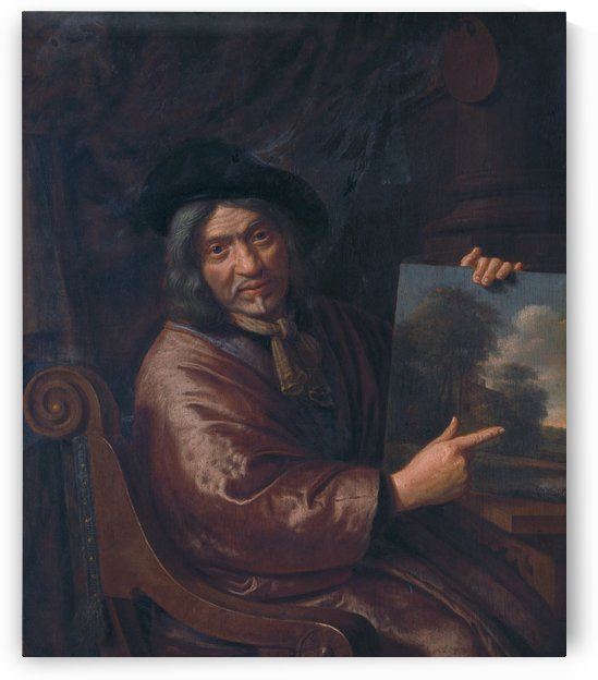 Self-portrait with one of his landscapes by Pieter Jansz van Asch