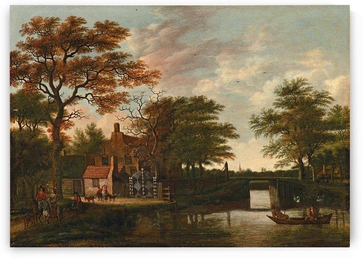 Evening landscape wit a farm house and a river by Pieter Jansz van Asch