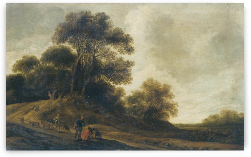A Dune Landscape With Travellers Resting Beside A Road by Pieter Jansz van Asch