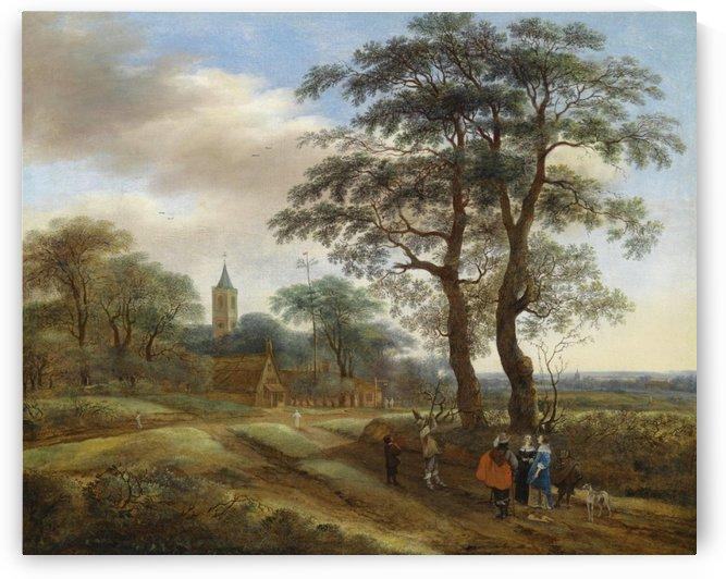 Figures outside town by Pieter Jansz van Asch